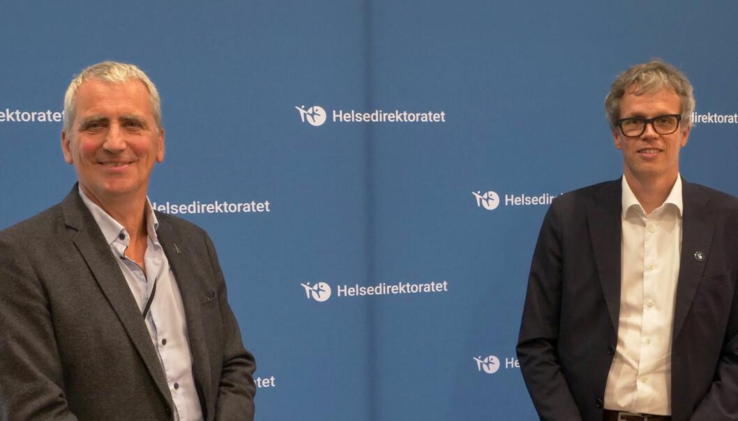 Assisterende helsedirektør Olav Slåttebrekk (t.v.) og administrerende direktør Jacob Mehus, Standard Norge.