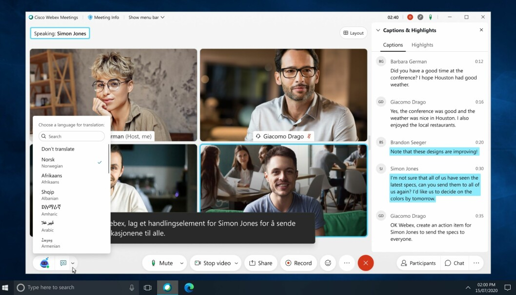 I den siste oppdateringen til Webex kan du oversette videomøter i sanntid til mer 100 språk - norsk inkludert.
