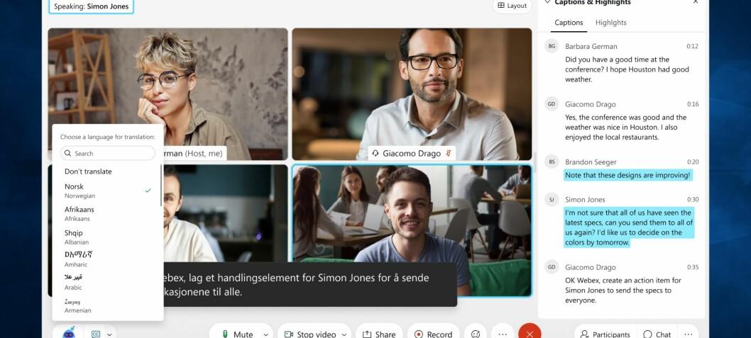 Videomøter kan oversettes på direkten