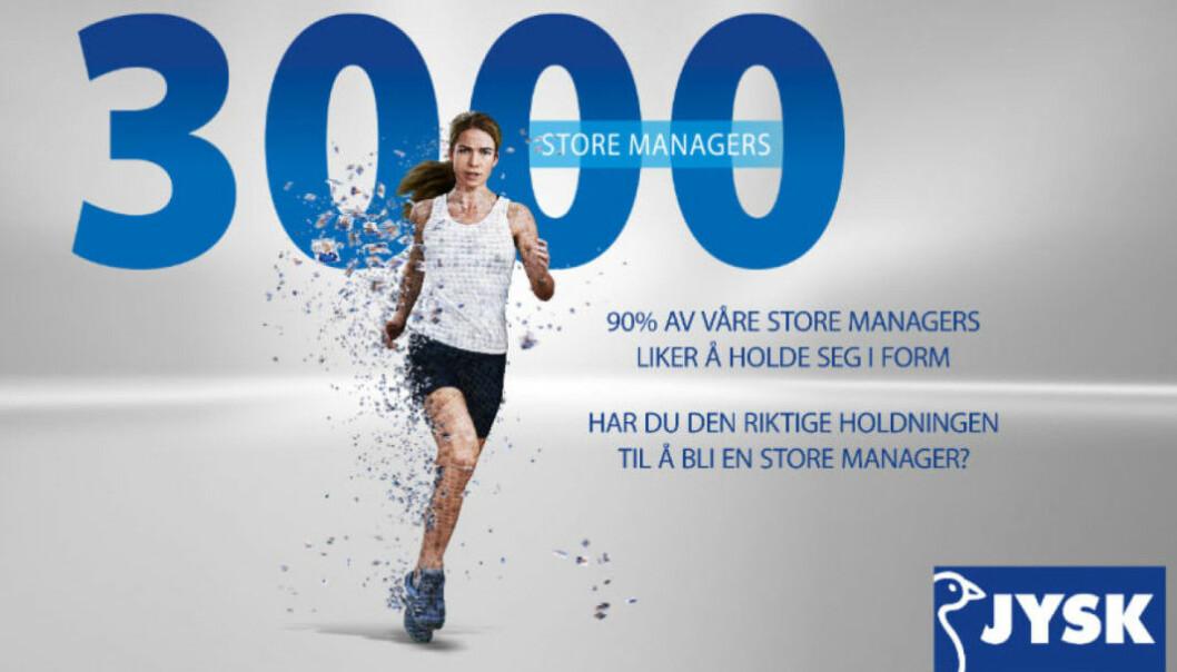 I sin kampanje skal Jysk både feire sine eksisterende butikksjefer og rekruttere nye.