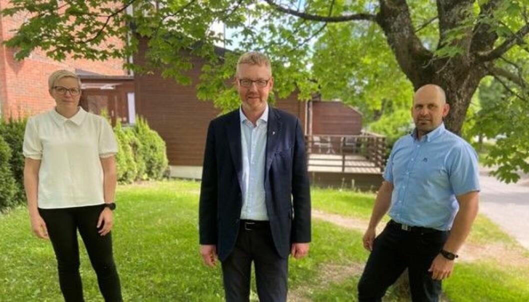 Fra venstre: Bodhild Fjelltveit, 2. nestleder i Norges Bondelag, Bjørn Gimming, leder Norges Bondelag og Egil Christopher Hoen, 1. nestleder Norges Bondelag.